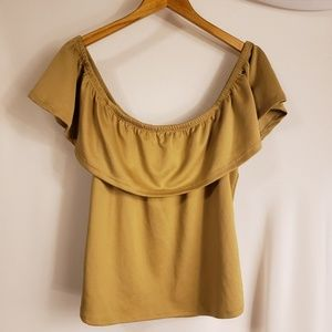 Suede feeling off the shoulder XL blouse